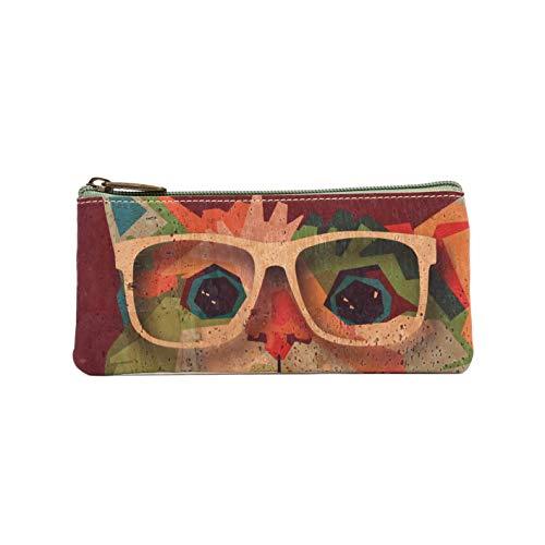 Funda para gafas de corcho natural, diseño colorido alegre y original, confeccionada con el mejor corcho portugués , diseñada en España (GATO A)