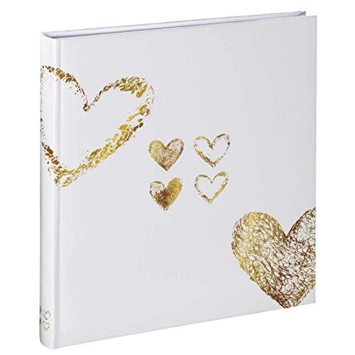 Hama Fotoalbum Lazise, Hochzeitsalbum mit 50 weißen Seiten für 250 Fotos im Format 10x15 cm, Fotobuch zum einkleben und zum selbstgestalten, Album z.B. für Hochzeit, 29x32 cm, Herz Motiv, weiß-gold
