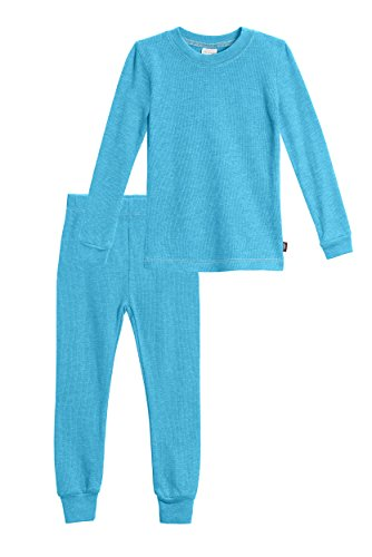 City Threads Little Girls Thermal Underwear Set Perfect for Sensitive Skin SPD Sensory Friendly Base Layer Thermal Wear Cotton Ski Clothing for Kids Comfortable Ultra Soft, Turquoise- 3T