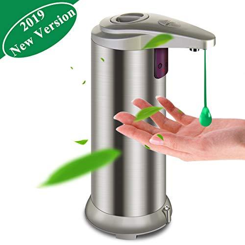 Seifenspender Automatisch, Seifenspender Edelstahl Sensor Infrarot Seifenspender Berührungslos Flüssigseifenspender mit Wasserdichter Basis für Küchen und Badezimmer Champagnersfarbe (Champagner)