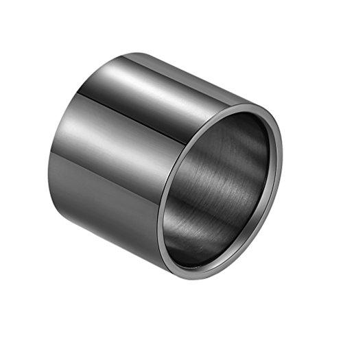 PAURO Anillo Grande para Hombre Acero Inoxidable Pulido 18 mm de Ancho Corte de Tubo Plano Negro Talla 30