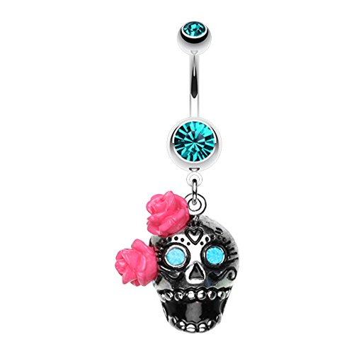 WildKlass Bright Sugar Skull Rose Belly Button Ring