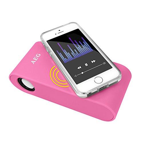 AEG Wireless Induktions Stereo Lautsprecher, drahtlose Musikübertragung für Smartphones LBI 4719 Pink