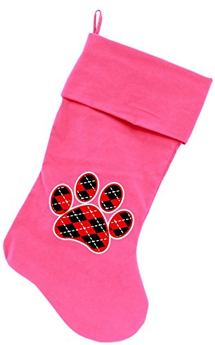 """Mirage Pet Products Argyle Paw Red Screen Print Velvet Christmas Stocking Pink, 18"""""""