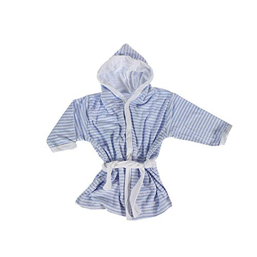 Casa Colori Baby Bademantel Frottier kuschelig warm gestreift Kapuze und Gürtel, Farben:bleu-Weiss, Größe:62-68
