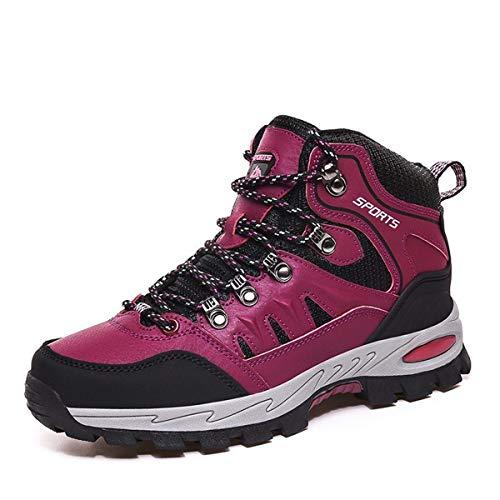 FOGOIN Chaussures de Randonnée Homme Femme Bottes de Marche Chaussures Montante Hiver Rouge Taille 39EU