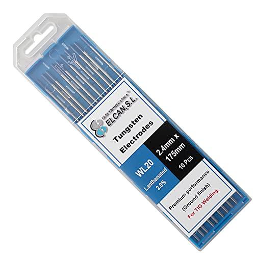 ELCAN Tungstenos soldadura TIG Lantano 2% Azul WL20 profesional, electrodos soldadura para torcha TIG de 1,6 2,4 mm,10 unidades - Dimensiones: 2,4 x 175 mm