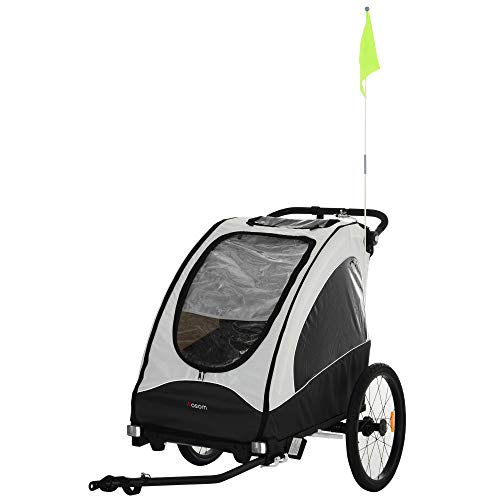 Aosom Child Bike Trailer 3 In1 Foldable Jogger Stroller Baby Stroller Transport Buggy Carrier with Shock Absorber System Rubber Tires Adjustable Handlebar Kid Bicycle Trailer White and Grey
