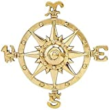 DRH Small Brass Compass Rose Nautical Wall Plaque - Nautical Beach House Wall Art - Wall Medallion - Decorative Round Wall Décor - Brass Farmhouse Decor Indoor or Outdoor Sign