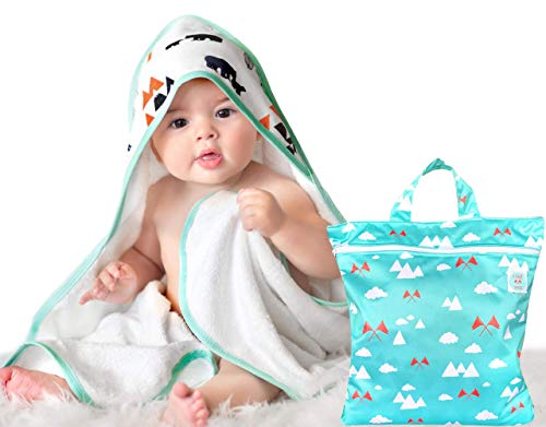 Premium Baby Hooded Towel for Boys or Girls - Organic Super Soft Bamboo Baby Towel - Highly Absorbent Baby Bath Towel with Hood - Fits Newborns Babies and Toddlers Ages 0 to 3 - Wet Dry Bag Included