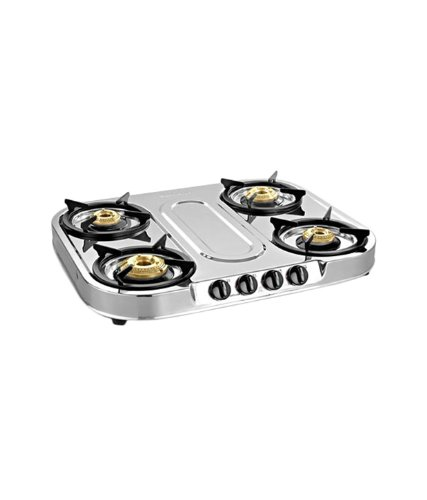 Sunflame Spectra Steel 4 Burner Gas Stove (Silver)
