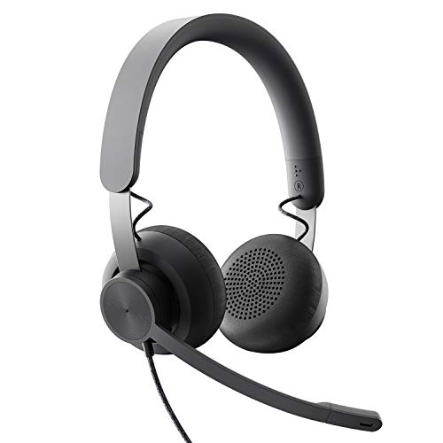 Logitech Zone Wired Noise Cancelling Headset, Certified for Microsoft Teams with Advanced Noise-canceling mic Technology for Open Office environments, USB-C with USB-A Adapter, Graphite.
