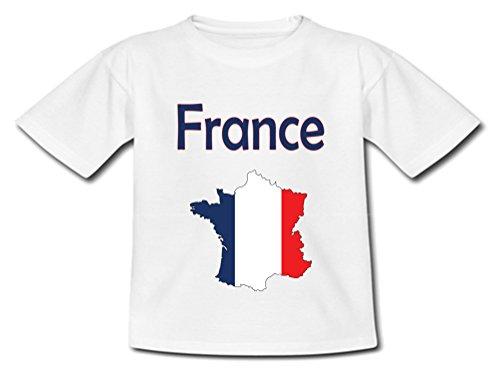 YONACREA - T-Shirt Bébé - Carte France avec Son Drapeau - 18 Mois