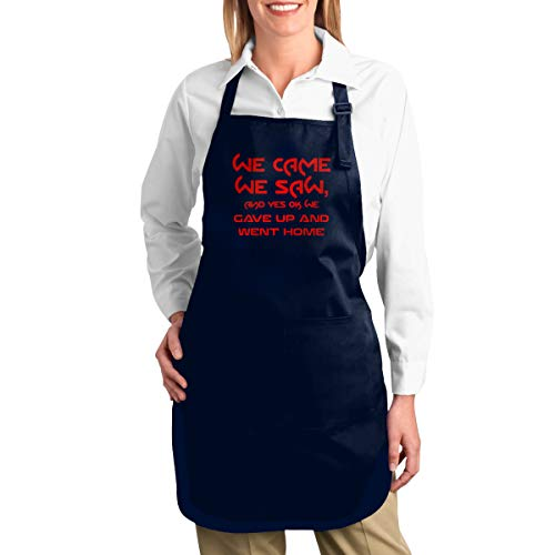 C & J We Came We Saw and Yes Ok We Went Home verstelbare bib Apron met 2 zakken Eén maat navy