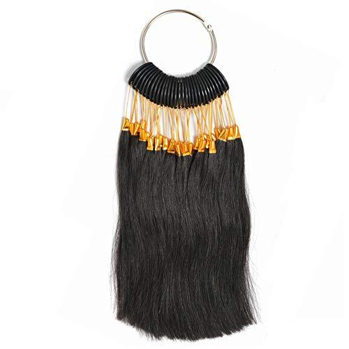 RemeeHi Lot de 30 mèches de cheveux naturels avec boucles dorées pour tester la couleur des cheveux naturels pour salon de coiffure Noir naturel 3°