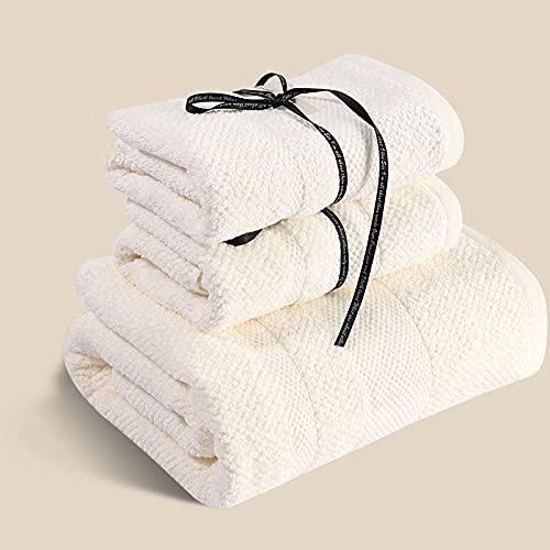 MQQM 2 Toallas de baño,Pareja de Toalla doméstica, Toalla de baño de Agua Absorbente de Agua de algodón-de Color Crema_2 Toallas + 1 Toalla de baño,Toallas para Hoteles