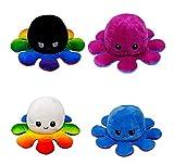 LOOLOLA 2 X Pieuvre Peluche Double Face, Poulpe, Octopus Humeur Double Face, Flip Jouet Mignonne, Cadeau Enfants, Adultes pour Noel, Anniversaire