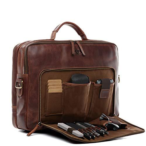 SID & VAIN Laptoptasche echt Leder Simon XL groß Businesstasche 15 Zoll Laptop Umhängetasche Aktentasche Laptopfach Ledertasche braun