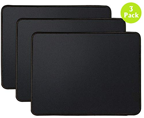 3 Mouse Pad Stitched Edges Premium-Textured Large Mouse Pads Mat Natural Non-Slip Rubber Base Mousepad for Laptop, Computer & PC, 11 x 8.7 inches, Black