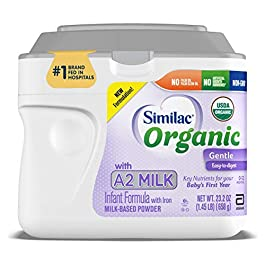 Similac Organic with A2 Milk Infant Formula, Gentle and Easy to Digest, with Key Nutrients for Baby's First Year, No Palm Olein Oil, Non-GMO Baby Formula Powder, 23.2-oz Tub