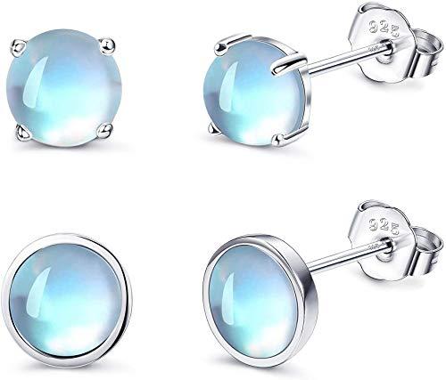 CASSIECA Månsten örhängen set 3 par 925 sterling silver runda regnbåge månsten knoppörhängen små små små örhängen stjärna månsten smycken för kvinnor allergivänliga örhängen present till flickor barn e sterlingsilver, cod. YJOU-01QW-179Y-YGS