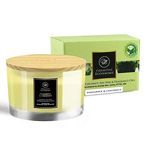 EcoAroma - Vela aromática de coco y piña con aroma de coco y soja orgánica, aroma de soja, aroma a aromaterapia, aroma decorativo para el hogar, 3 mechas vertidas a mano, 18 onzas