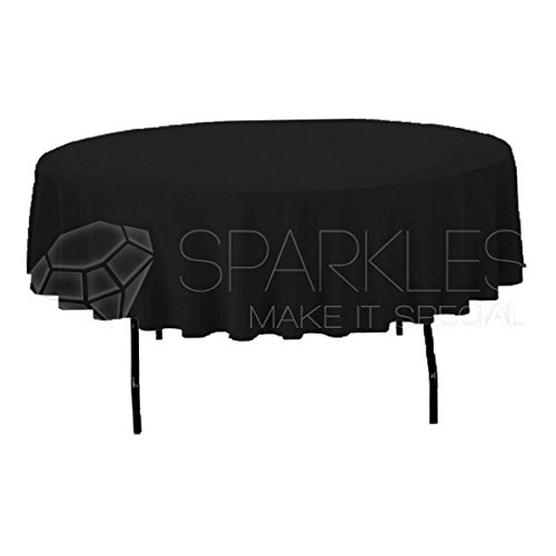 """Sparkles Make It Special 10-pcs 90"""" Inch Round Polyester Cloth Fabric Linen Tablecloth - Wedding Reception Restaurant Banquet Party - Machine Washable - Choice of Color - Black"""