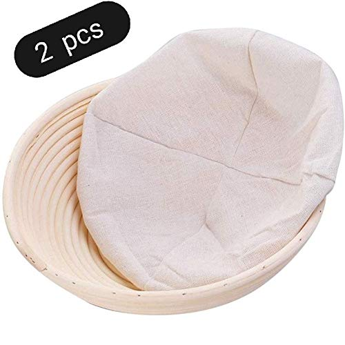 Luoli 2 Stück runde Brotkorb Brot Proofing Korb Rattan Brotkorb, benutzt for Teig Test von fermentierten Brotkorb, Brotbacken Werkzeug (Size : 21X7CM)