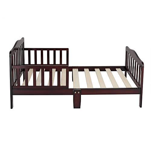 WJAROG Simplistic Wooden Baby Toddler Bed Children Bedroom Furniture with Safety Guardrails