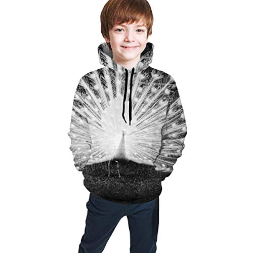 XCNGG Teenager-Pullover Junge Pullover Mädchen Pullover Hoodie White Peacock Shows Tail Black Unisex Hooded Sweatshirts Tops Pullover Autumn and Winter