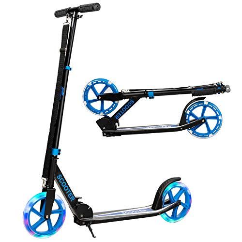 COSTWAY Scooter Monopattino Altezza Regolabile, Ruote Luminose, per Bambini e Adulti, capacità di Carico 100kg, Alluminio, 10+ Anni (Blu)