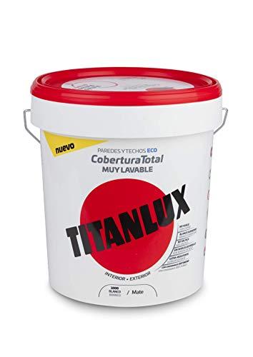 Titanlux - Pintura plástica Cobertura total, Blanco, 15L (ref. 06T100015)