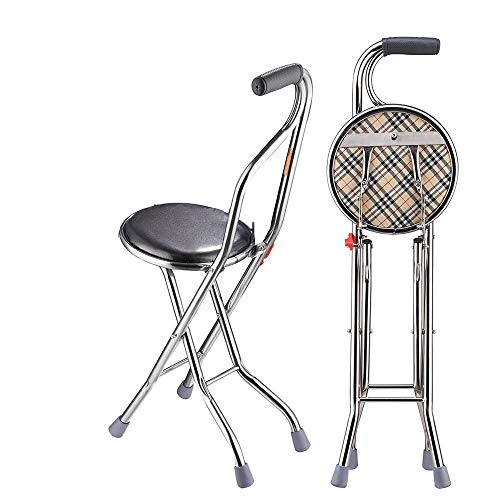 Medical Folding Walking Stick with Seat Four Legged Portable Travel Hiking Cane Chair Stool Eldely Care Aid, Easy to Carry with for Various Outdoor use Like Traveling, Hiking, Waiting in line