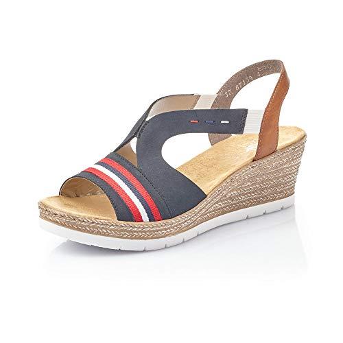 Rieker Mujer Sandalias de Vestir 619S6, señora Sandalias de cuña,Zapatos del Verano,cómodo,tacón Alto,Pazifik,38 EU / 5 UK