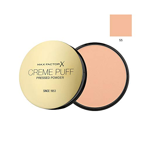 MAX FACTOR Creme Puff Face Foundation Make Up, Over 10 Different Cosmetic Shades Poducts To Choose From - (1 PACK, 55 Candle Glow)