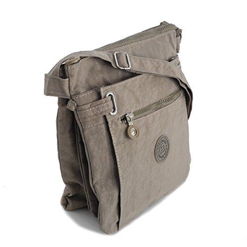 Umhängetasche aus Stoff von Bag Street - Schultertasche Freizeittasche Wandertasche Sporttasche Stofftasche Crossbag aus Nylon - (Hellbraun) präsentiert von ZMOKA®