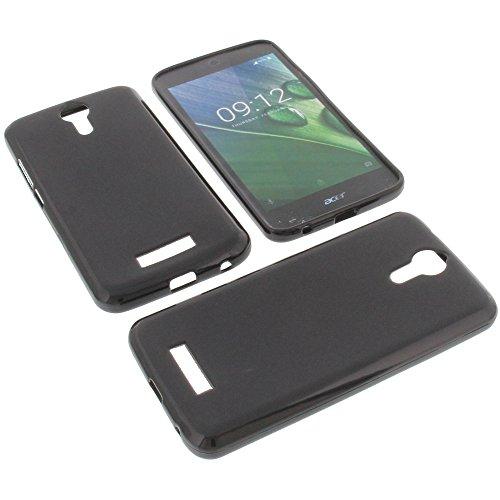 foto-kontor Tasche für Acer Liquid Zest Plus Gummi TPU Schutz Handytasche schwarz