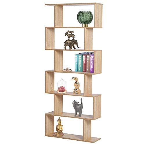 BAKAJI Libreria Scaffale 6 Ripiani in Legno Design Zig Zag Moderno per Soggiorno Salotto Casa o Ufficio Dimensione 80 x 24 x 190 cm (Beige)