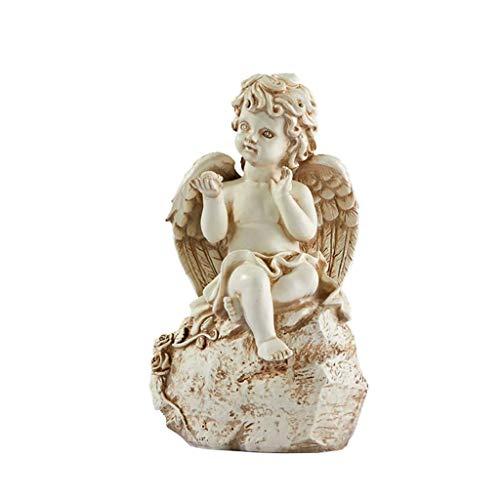 SY-Home Decoración De Estatua De Ángel Retro, Modelo De Artesanía De Resina De Ángel, Decoración De Escritorio para Sala De Estar De Oficina, H25CM