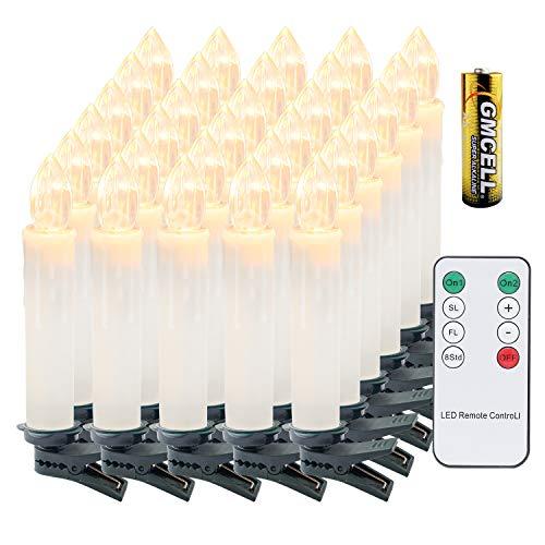VINGO 30 Stück Weihnachten LED Kerzen mit Fernbedienung Kabellos Warmweiß Kerzen Timerfunktion mit Batterien Kerzenlichter Baumkerzen
