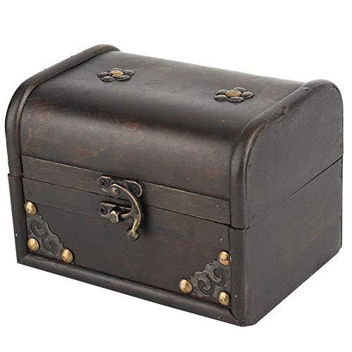 FOLOSAFENAR Caja de Almacenamiento de joyería, Caja de Almacenamiento de Madera Artesanal Vintage Duradera para Anillos para Escritorio