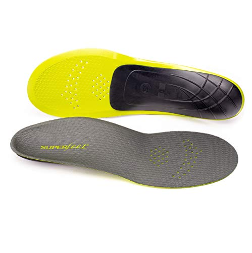 Superfeet CARBON, Thin and Strong Insoles for Pain Relief in Performance Athletic and Tight Casual Shoes, Unisex, Gray, Small/C: 6.5-8 Wmns/5.5-7 Mens