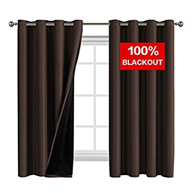 Flamingo P Full Blackout Brown Curtains Faux Silk Satin with Black Liner Thermal Insulated Window Treatment Panels, Grommet Top (52 x 63 Inch, Set of 2)