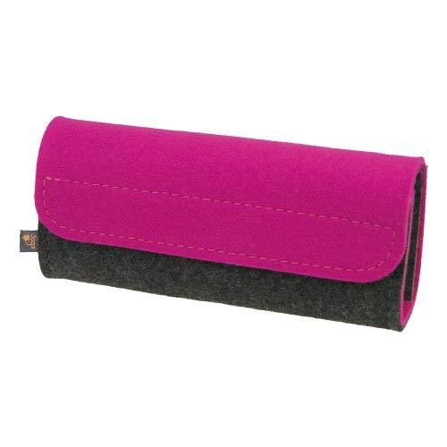 Premium Taschenapotheke von ebos | handgefertigte Reiseapotheke aus echtem Wollfilz | 32 Schlaufen für Globuli-Röhrchen | Globuli-Tasche, Globuli-Etui, Globuli-Mäppchen zur Aufbewahrung von homöopathischer Hausapotheke | pink