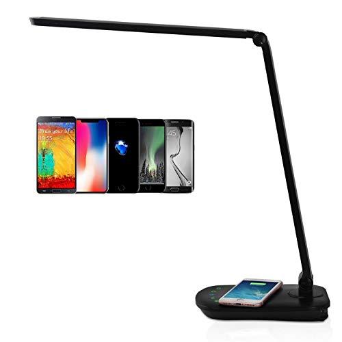 Lámpara de Escritorio LED, Base Para Carga Inalámbrica, Puerto USB, Flexo LED Táctil, 2 Modos, 5 Niveles de Brillos, 8W, Negro