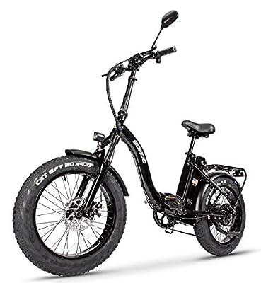 "SOHOO 48V500W12AH 20"" x4.0 Adult Folding Fat Tire Step-Thru Electric Bicycle Mountain E-Bike Removable Battery Foldable Snow Electric Bike"