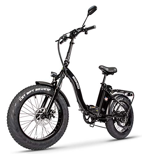 SOHOO 48V500W12AH 20' x4.0 Adult Folding Fat Tire Step-Thru Electric Bicycle Mountain E-Bike Removable Battery Foldable Snow Electric Bike