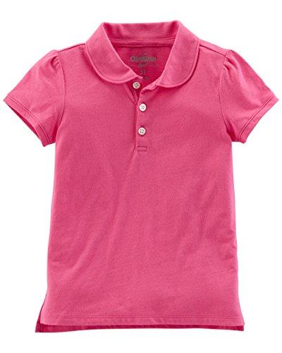 Osh Kosh Girls' Short Sleeve Uniform Polo, Bright Pink, 3T