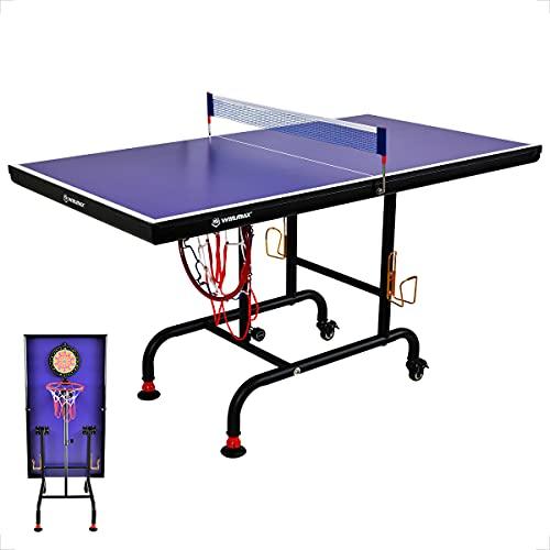 WIN.MAX Tischtennisplatte, Multifunktional Tischtennistisch mit Darts und Basketball Spiel , TT-Platte für Indoor