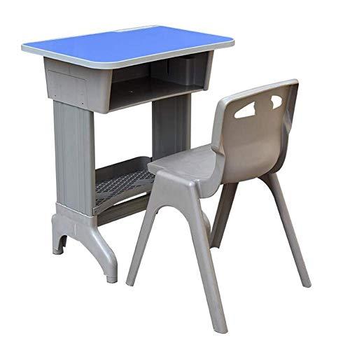 N/Z Equipo Diario Mesas Juego de sillas de Escritorio Mobiliario Escolar Altura Ajustable Aula Recepción Abierta Escritorio Escritorios de Estudio Sillas Azul 65x45x64 72cm
